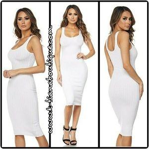 White, ribbed, tank, midi dress